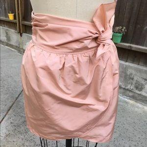 M MISSONI Taffeta Wrap Tie Waist Mini Skirt Blush